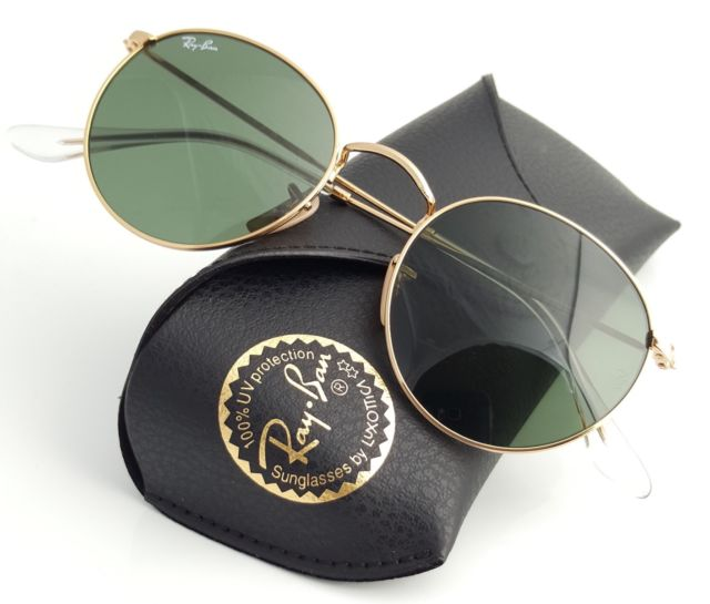 8651477cc Authentic Ray-Ban RB 3447 001 50mm Round Metal Gold Frame Green Lenses
